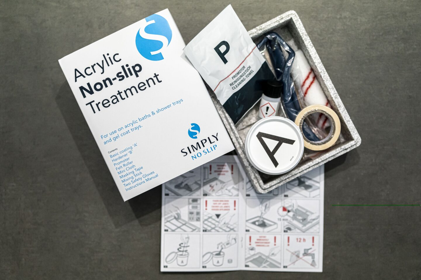 An open box showing the contents of the Acrylic Non Slip Treatment