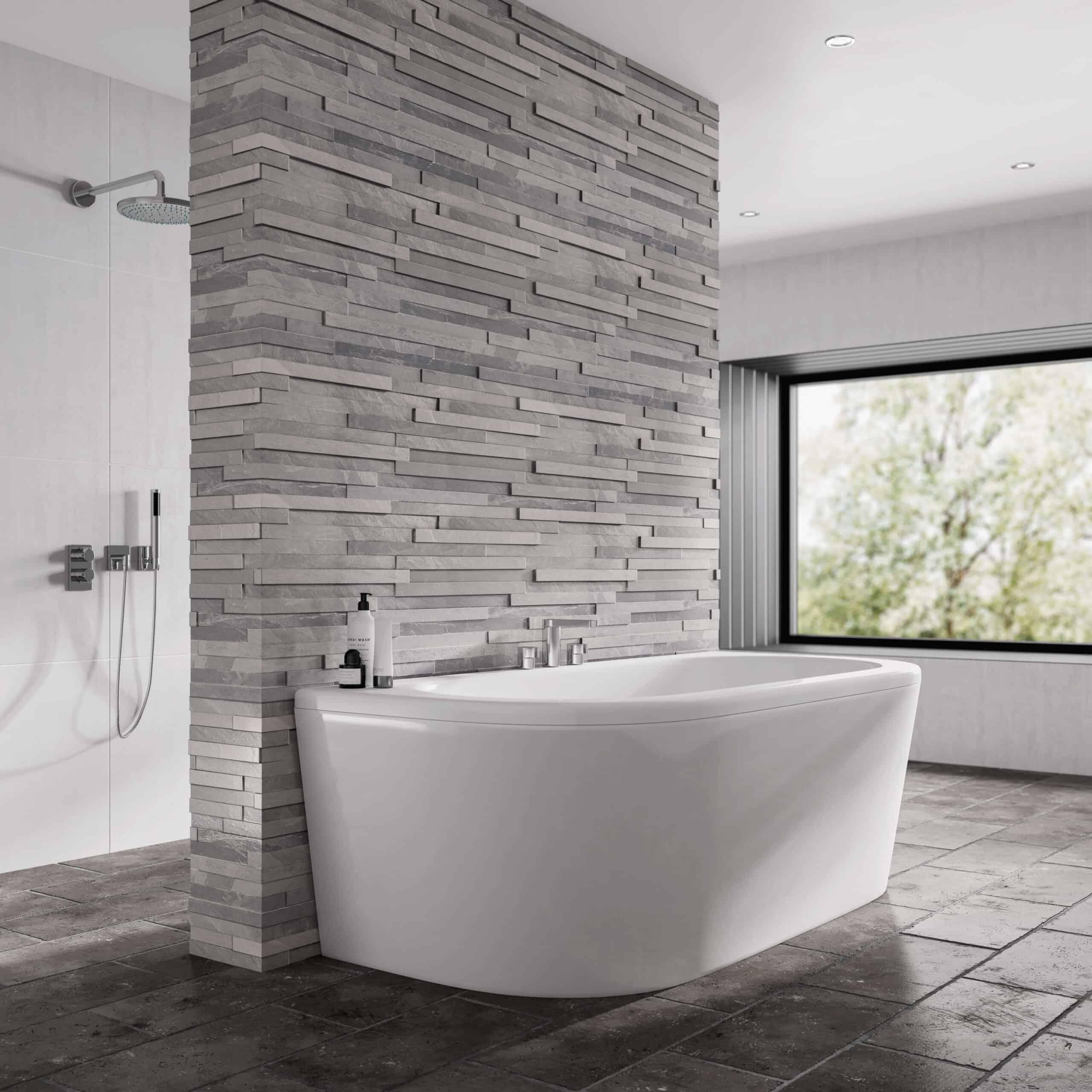 D Shape bath in a luxury bathroom space