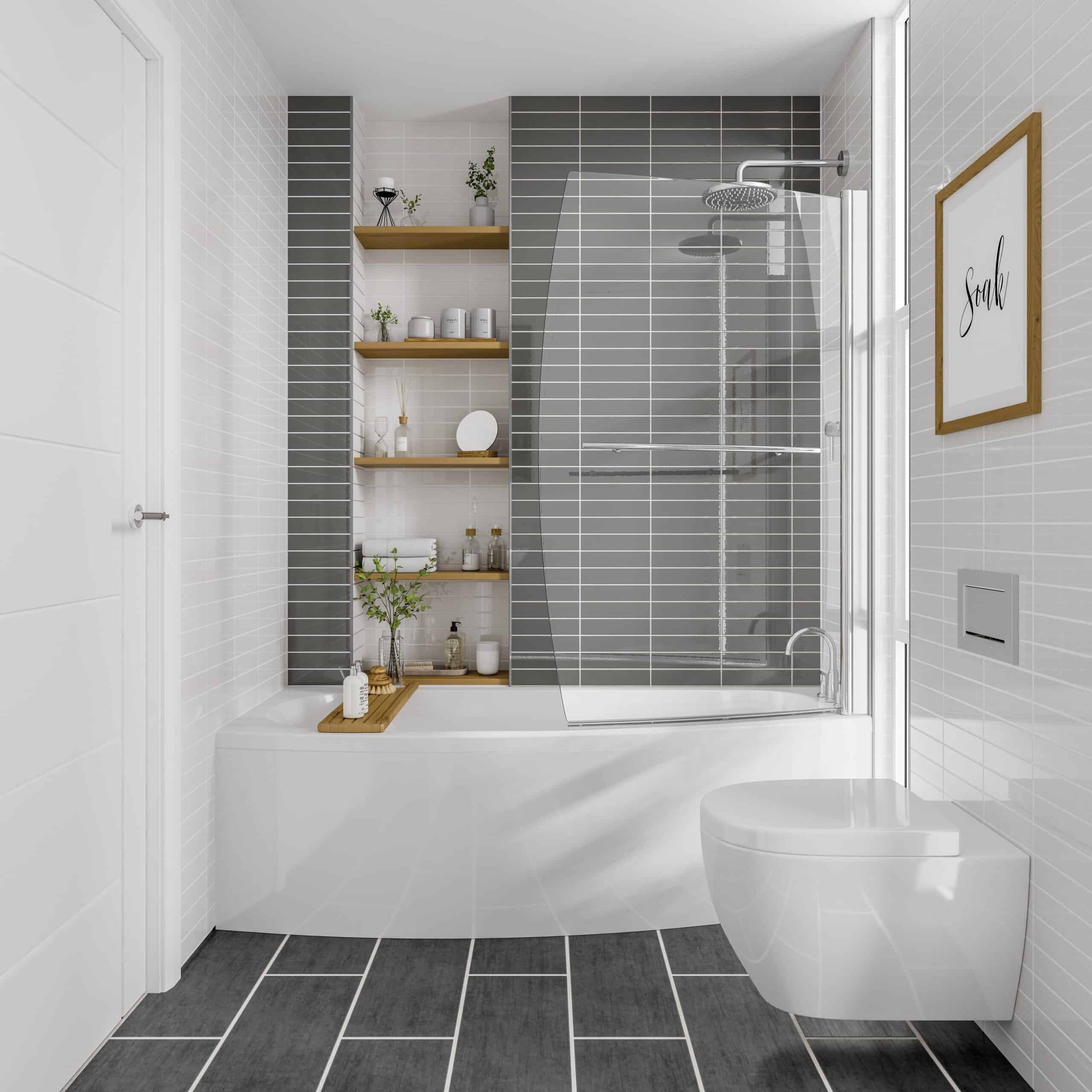 Space Saver Bath in grey tiled bathroom