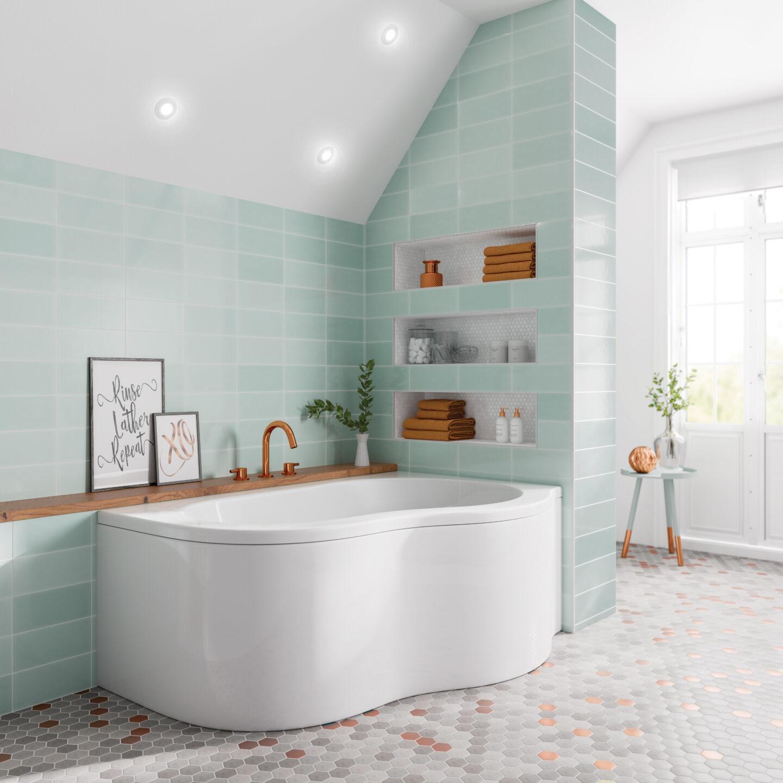 Trojan's Quebec corner bath roomset