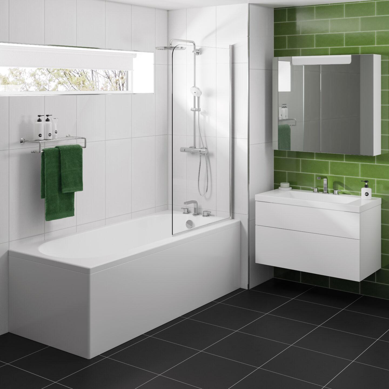 standard rectangular bath in green bathroo
