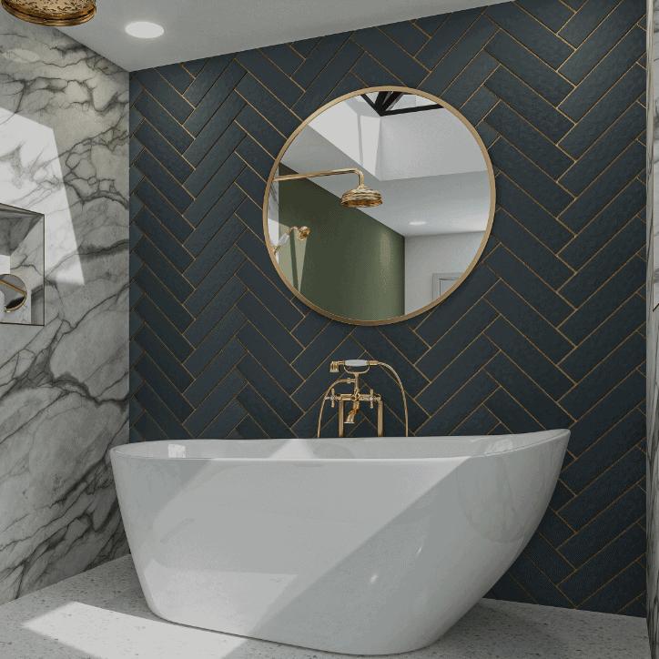 Emerald SE Bath in blue tiled bathroom