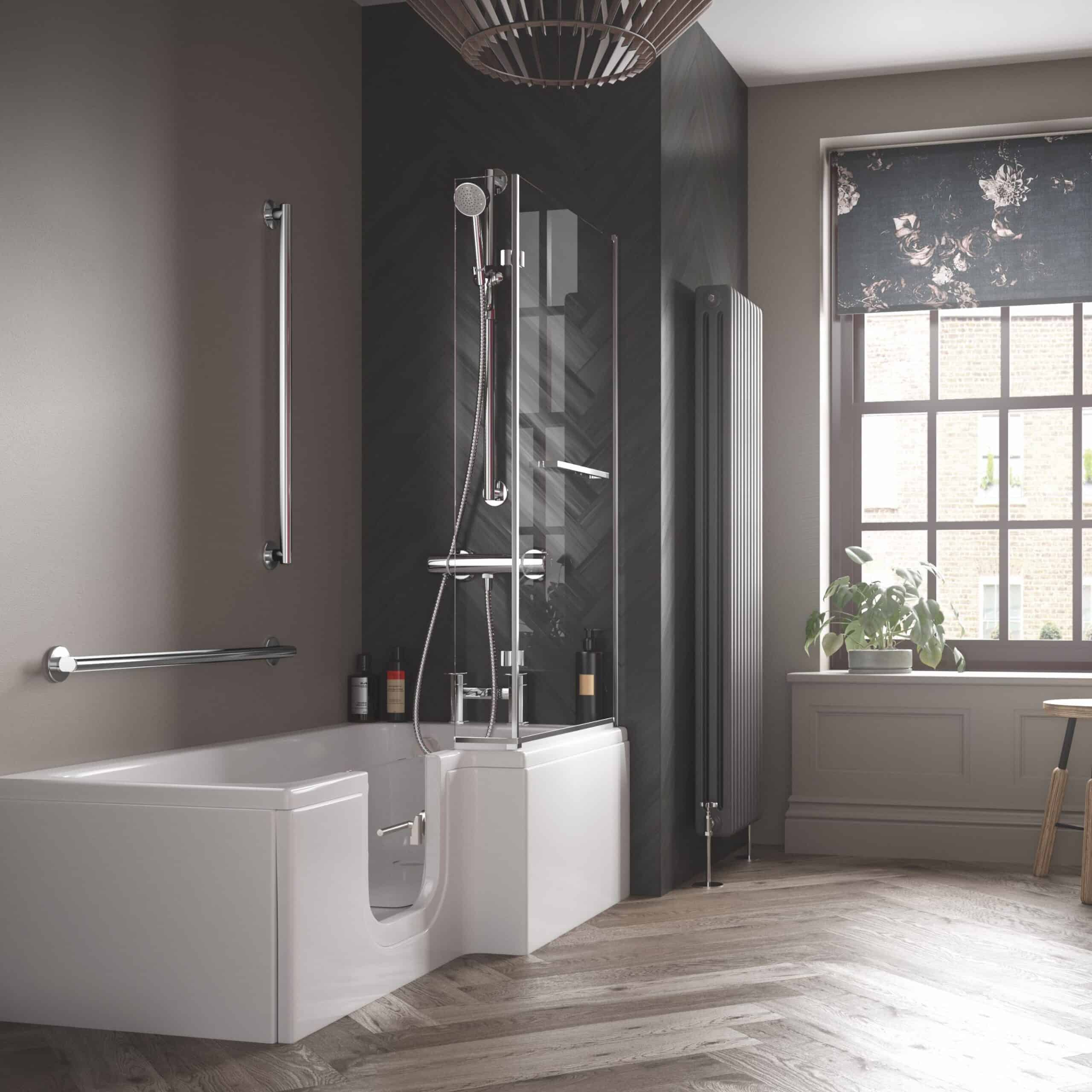 L Shaped Solarna Walk-In Bath in a dark styled bathroom