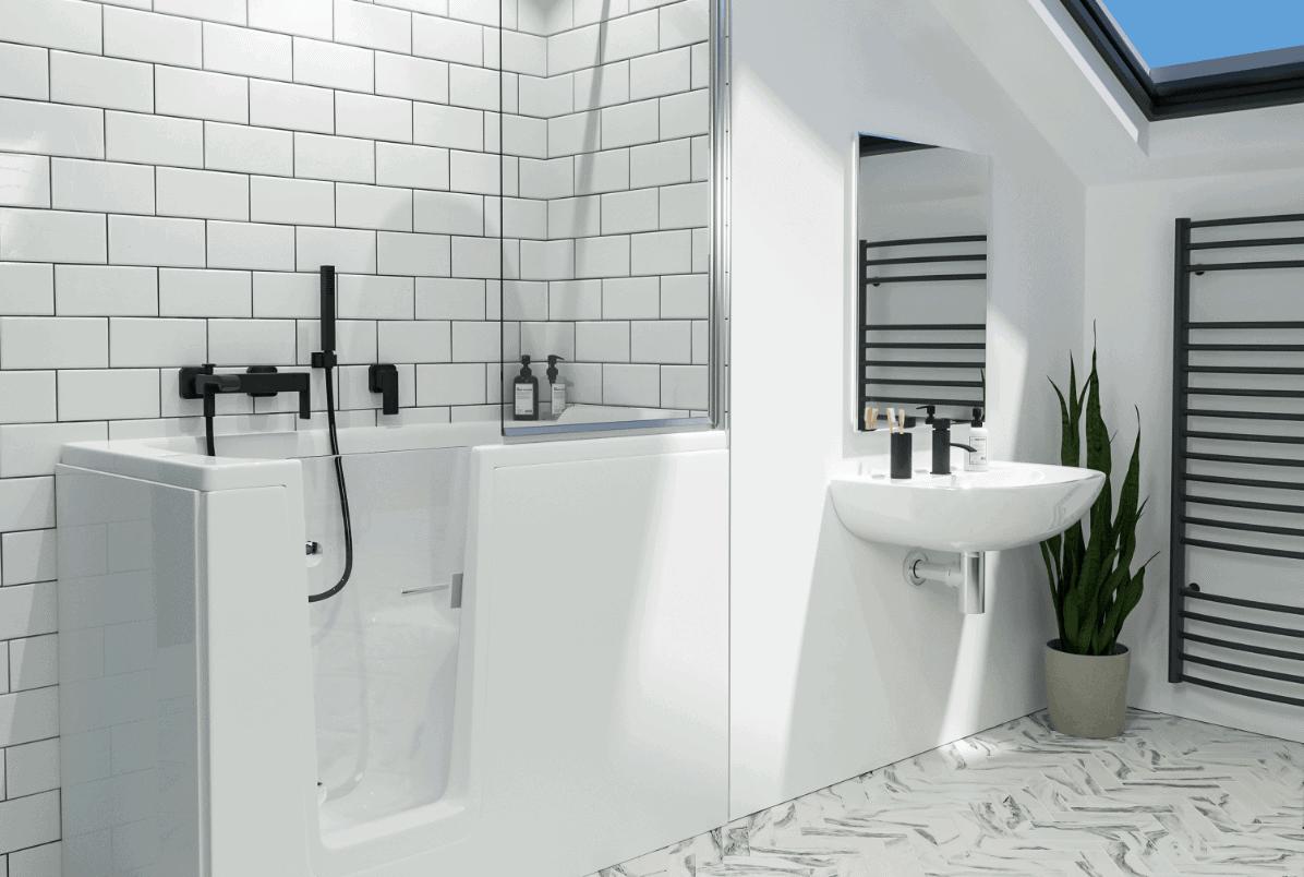Comfort Deep Soak bath in white bathroom with a short shower screen