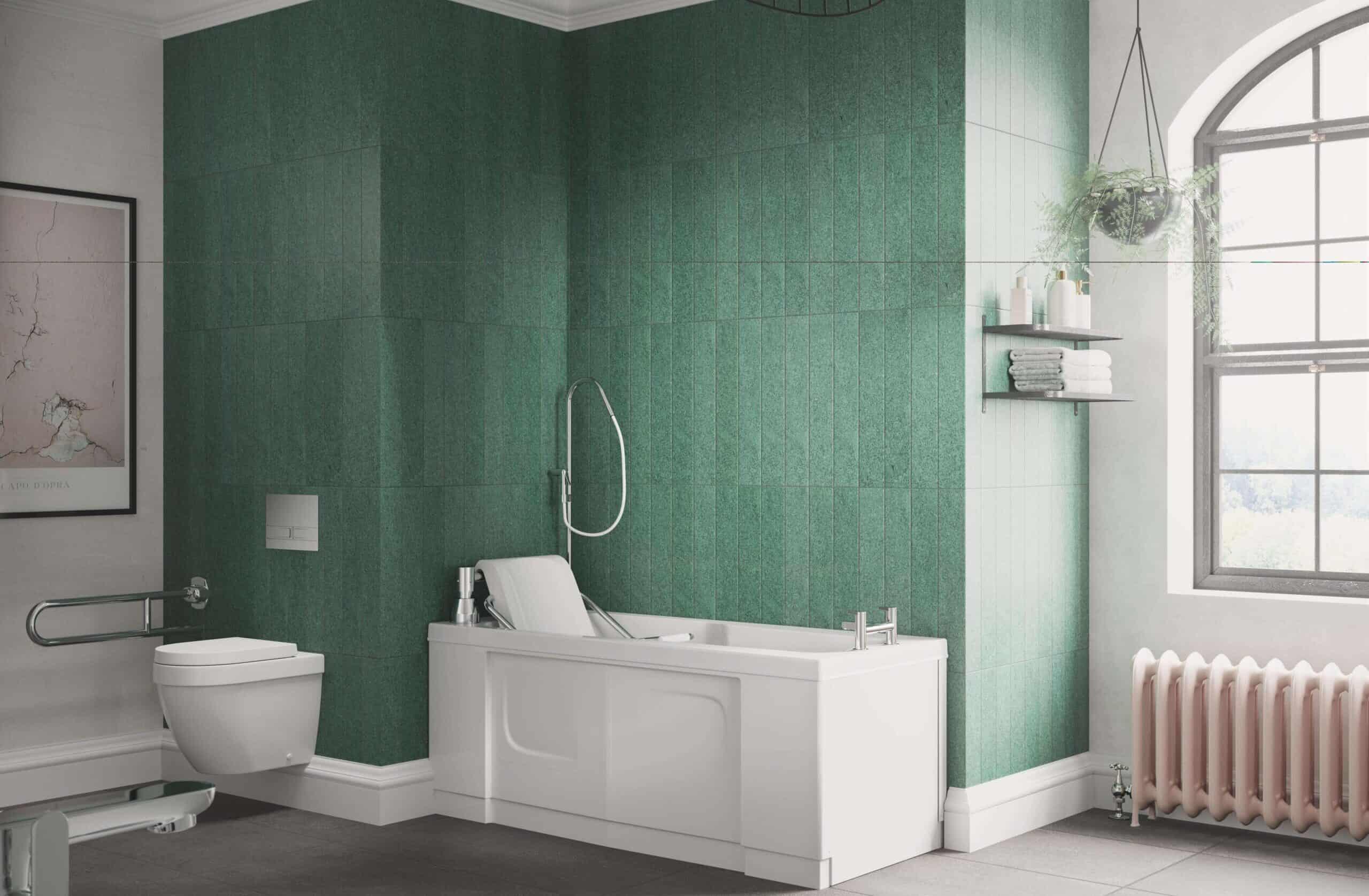 Marcella power list bath in a green styled bathroom